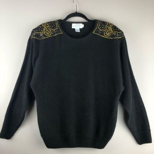 Vintage 80's Exaggerated Shoulder Sweater - Size S